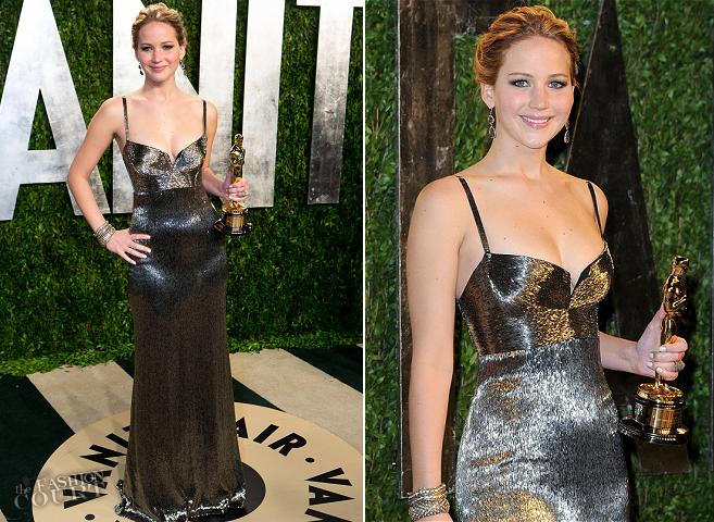 Jennifer Lawrence in Calvin Klein | 2013 Vanity Fair Oscar Party