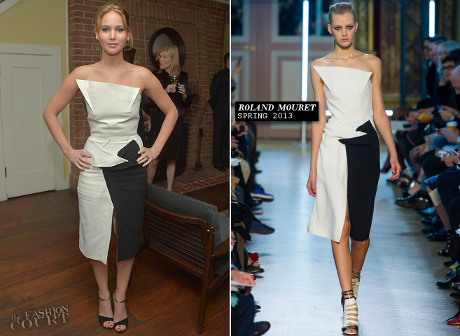 Jennifer Lawrence in Roland Mouret | Vanity Fair Campaign Hollywood 2013 Pre-Oscars Celebration of 'Silver Linings Playbook'