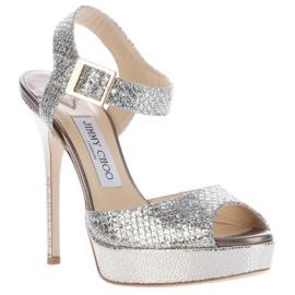 Jimmy Choo Glitter Silver Platform LINDA Sandals
