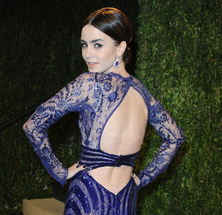 Lily Collins in Zuhair Murad Couture | 2013 Vanity Fair Oscar Party