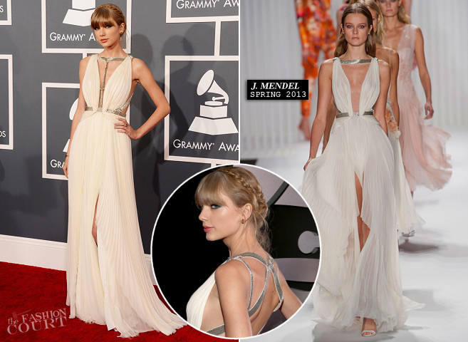 Taylor Swift in J. Mendel | 2013 GRAMMY Awards