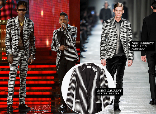 Wiz Khalifa in Neil Barrett & Miguel in Saint Laurent | 2013 GRAMMY Awards