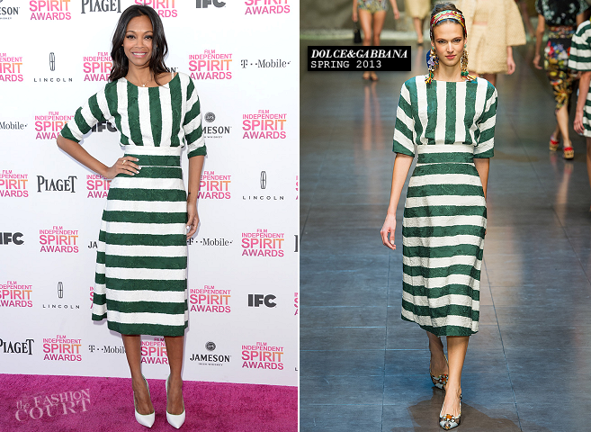 Zoe Saldana in Dolce & Gabbana | 2013 Film Independent Spirit Awards