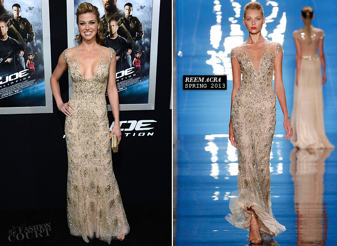 Adrianne Palicki in Reem Acra | 'G.I.Joe: Retaliation' Hollywood Premiere