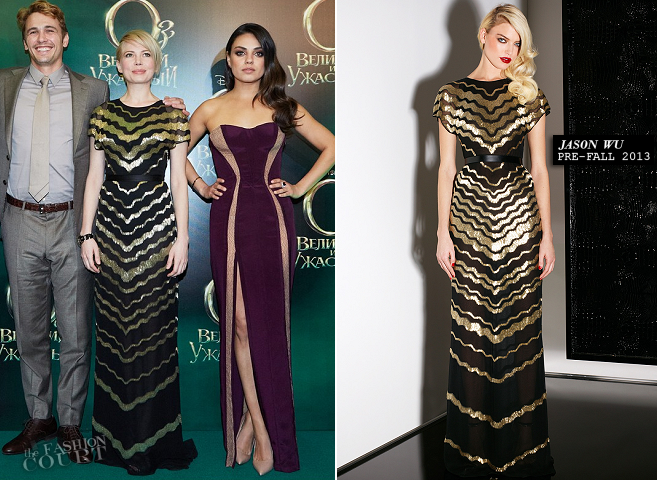 Mila Kunis in Atelier Versace & Michelle Williams in Jason Wu | 'Oz: The Great and Powerful' Moscow Premiere