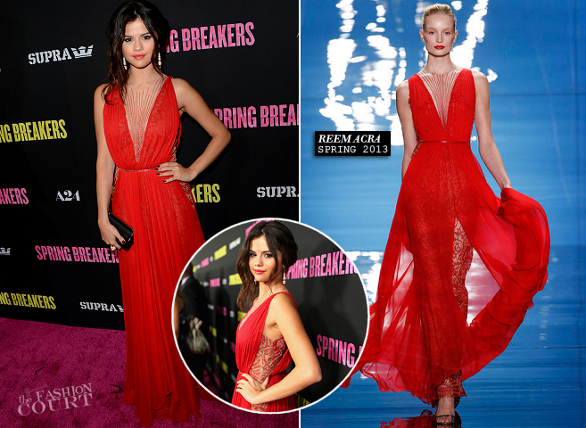 Selena Gomez in Reem Acra | 'Spring Breakers' Hollywood Premiere