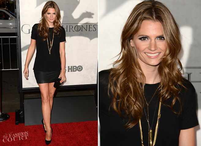 Stana Katic in T by Alexander Wang & Alpinestars by Denise Focil | 'Game Of Thrones' Season 3 Premiere