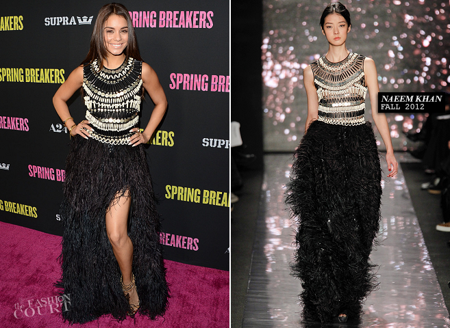 Vanessa Hudgens in Naeem Khan | 'Spring Breakers' Hollywood Premiere