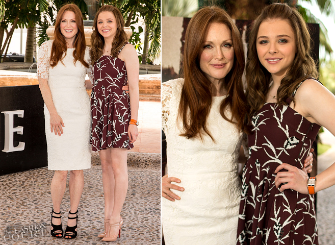 Julianne Moore in Dolce & Gabbana and Chloe Moretz in Marni | 'Carrie' Cancun Photocall - Summer of Sony 2013