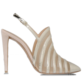 Emporio Armani Laminated Effect High-Heeled Slingback Sandals
