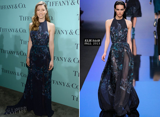Jessica Biel in Elie Saab | 2013 Tiffany & Co. Blue Book Ball