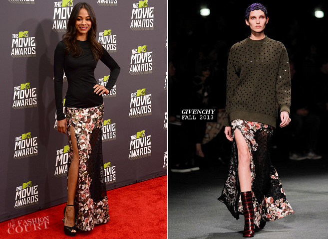 Zoe Saldana in Givenchy | 2013 MTV Movie Awards