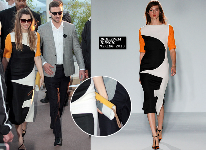 Jessica Biel in Roksanda Ilincic & Justin Timberlake in Dior Homme | 'Le Grand Journal' - 2013 Cannes Film Festival