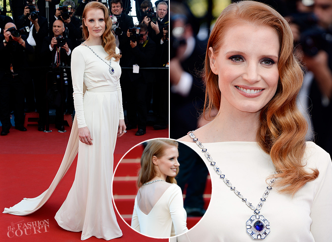 Jessica Chastain in Atelier Versace | 'Cleopatra' Premiere - 2013 Cannes Film Festival