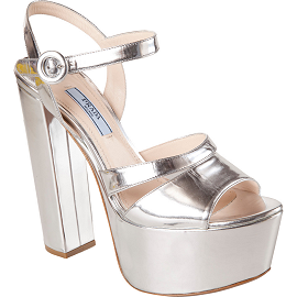 Prada Mirrored Platform Ankle Strap Sandals
