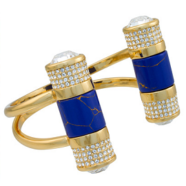 Rachel Zoe Fall 2013 Double Barrel Cuff Bracelet in Lapris and Crystal