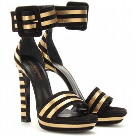 Saint Laurent PALOMA Suede Metallic Stripe Sandals
