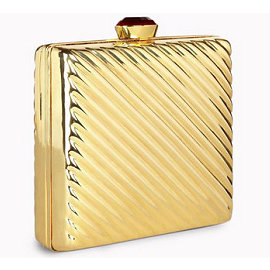 Stella McCartney Gold Minaudiere with Ruby Closure