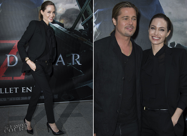 Angelina Jolie in Saint Laurent | 'World War Z' Paris Premiere