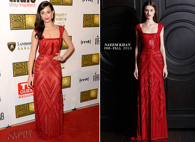 Emmy Rossum in Naeem Khan | 2013 Critics' Choice Television Awards