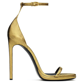 Saint Laurent Paris JANE Gold Leather Sandals
