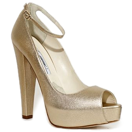 Brian Atwood MARTINA Metallic Peep Toe Pumps with Ankle Strap