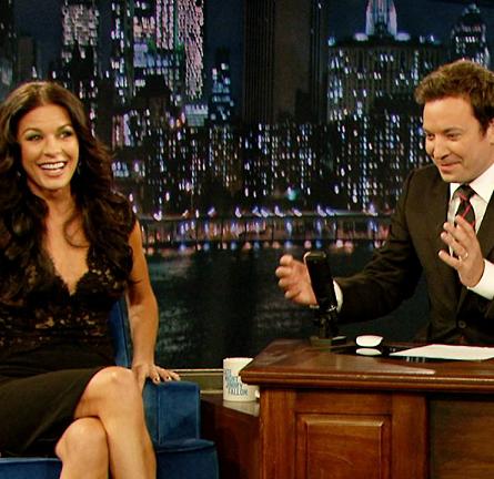 Catherine Zeta-Jones in Reem Acra   'Late Night with Jimmy Fallon'