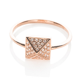 EF Collection Diamond Pyramid Ring in Rose Gold