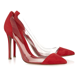 Gianvito Rossi Red Suede Clear Cap-Toe Pumps