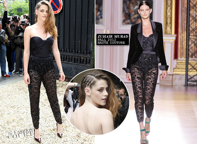 Kristen Stewart in Zuhair Murad Couture | Paris Couture Fashion Week: Fall 2013 - Front Row at Zuhair Murad