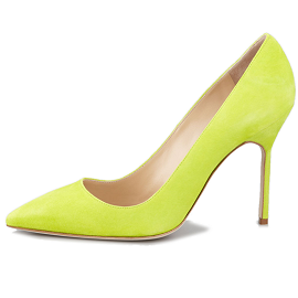 Manolo Blahnik BB Lime Green Suede Pointed Pump