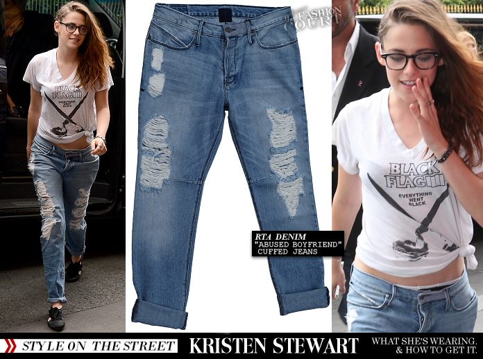 Kristen Stewart's Ripped RtA Denim and Cutout Shoes!