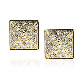 Anita Ko 18kt Gold Diamond Pyramid Stud Earrings