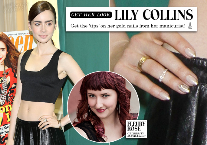 Lily Collins' Manicurist Gives the 'Tips' on her Gold Nails!