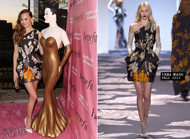 Chrissy Teigen in Vera Wang | Benefit Cosmetics' They're REAL-volutionary Awards