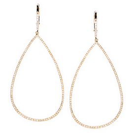 EF Collection Diamond Teardrop Hoop Earrings