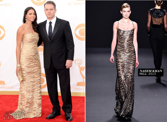 Matt Damon in Giorgio Armani & Luciana Barroso in Naeem Khan | 2013 Emmys