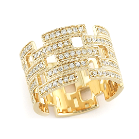 Dana Rebecca Designs Katie Z Ring in 14k Yellow Gold with Pave Diamonds