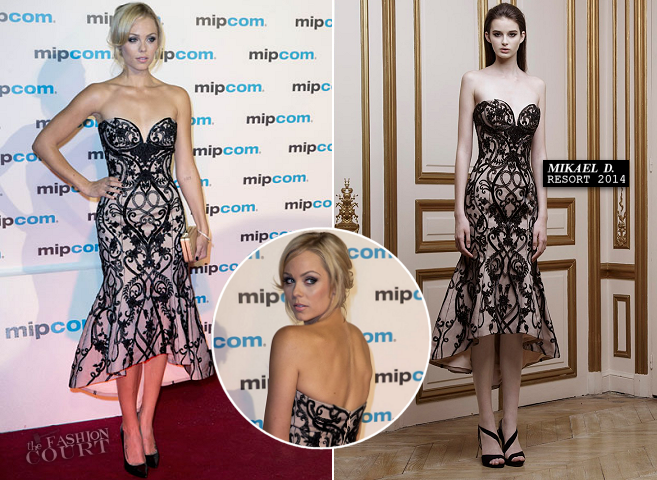 Laura Vandervoort in Mikael D. | MIPCOM 2013 Red Carpet Event