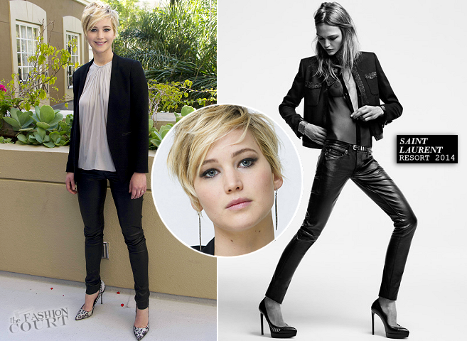 "Jennifer Lawrence in Helmut Lang & Saint Laurent | ""The Hunger Games: Catching Fire"" Press Conference"