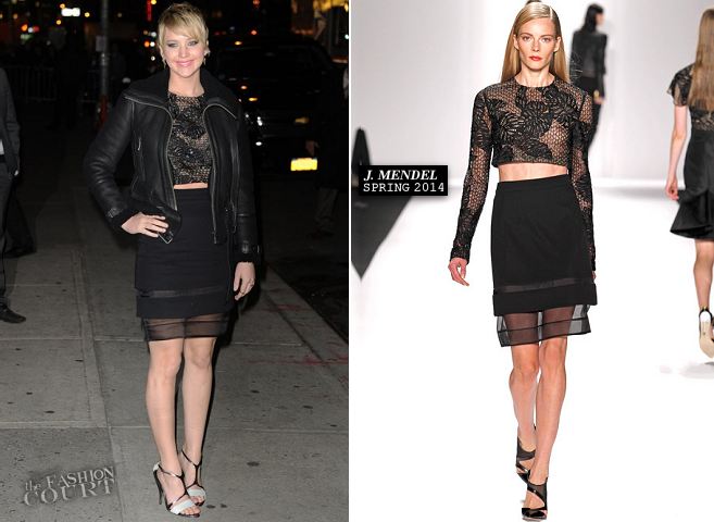 Jennifer Lawrence in J. Mendel | 'Late Show with David Letterman'