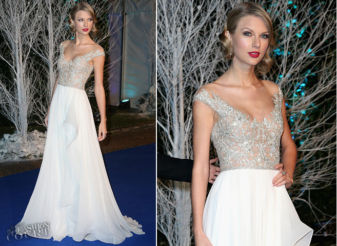 Taylor Swift in Reem Acra | Winter Whites Gala 2013