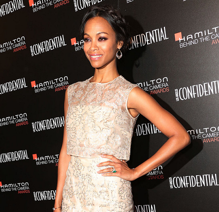 Zoe Saldana in Monique Lhuillier | Hamilton Behind The Camera Awards 2013