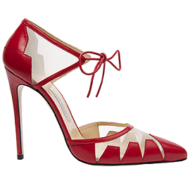 Bionda Castana LANA Red Calf Leather with Nude Mesh Pumps