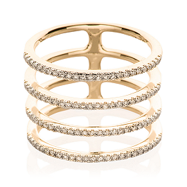 EF Collection Diamond Multi Spiral Ring in Yellow Gold