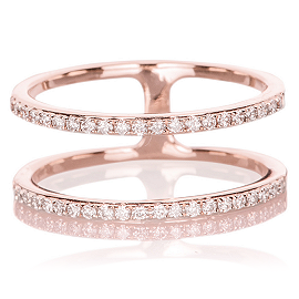 EF Collection Diamond Double Spiral Ring in Rose Gold