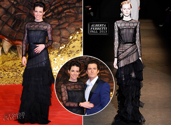 Evangeline Lilly in Alberta Ferretti | 'The Hobbit: The Desolation of Smaug' Berlin Premiere
