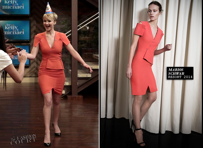 Jennifer Lawrence in Marios Schwab | 'LIVE! with Kelly and Michael'