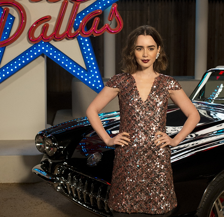 Lily Collins in Chanel | CHANEL 'Métiers d'Art' Fashion Show