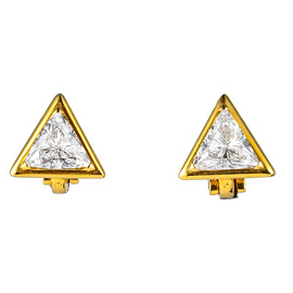 Marina B CHUTE Triangle Diamond 18k Yellow Gold Earrings